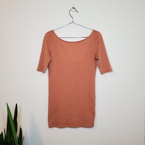 Club Monaco Peach Wool Cashmere Scoop Neck Tshirt